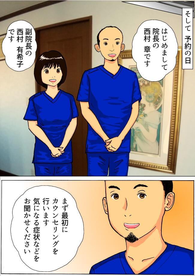 そして予約の日 はじめまして院長の西村 章です 副院長の西村 有希子です まず最初にカウンセリングを行います 気になる症状などをお聞かせください